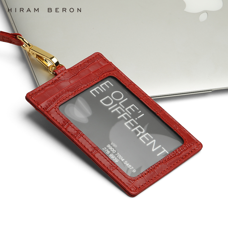 Hiram Beron Custom Name Service Name Card ID holder Italian leather croco pattern dropship