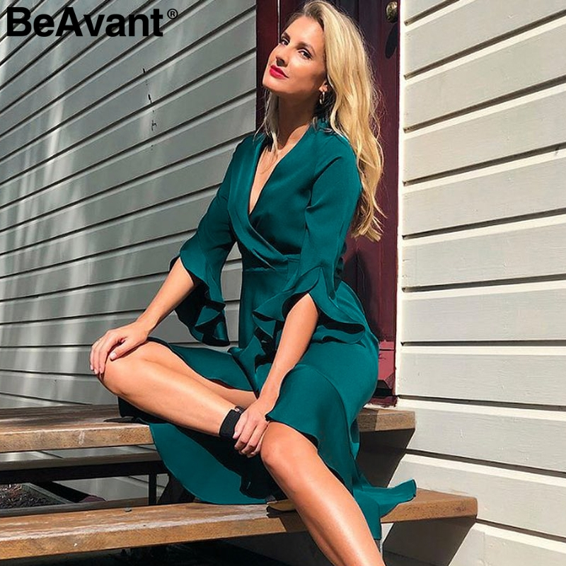 BeAvant Elegant ruffle satin causal dress autumn 2018 Split flare sleeve midi wrap dress V neck streetwear women dress vestidos