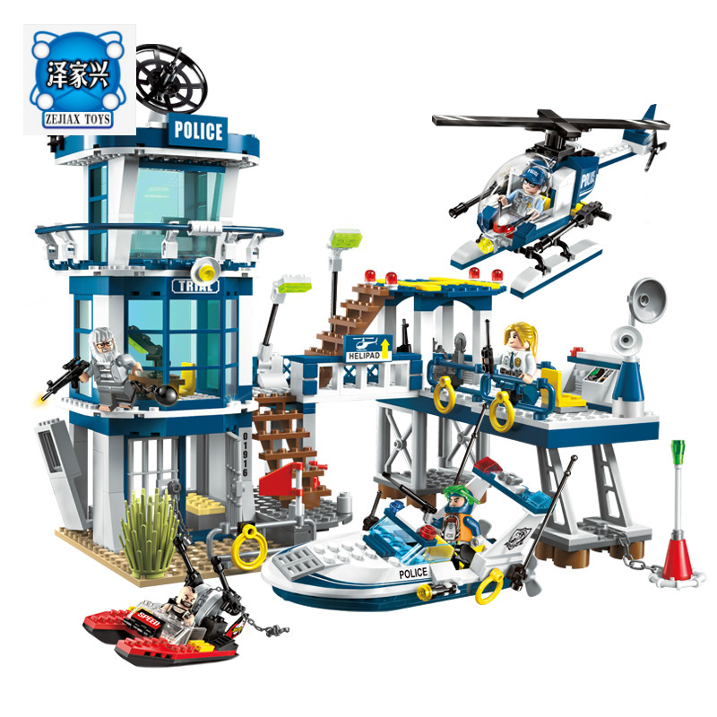 Enlighten Building Block City Police Rescue Plan Yacht Helicoper Boat 5 Figures 565pcs MOC Educational Bricks octagon yacht skipper captain sailor boat police sheriff hat cap party costume py