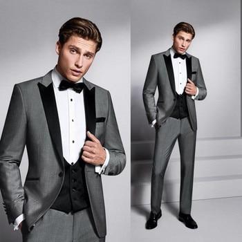 Custom Made New Gray+Black Lapel Wedding Tuxedos Prom/Party Suits For Men 3 Piece Men Suits (Jacket+Pants+Vest) G527