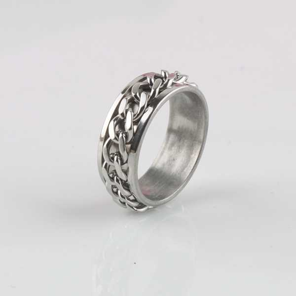 Top Quality Titanium Steel Man Ring Chain Style Titanium Men Ring & Women Ring Jewelry Free Shipping