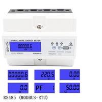 RS485 modbu three phase LCD multi function display power meter wattmeter power meter 3*220/380V 3*230/400V 50HZ 60HZ 5 100A