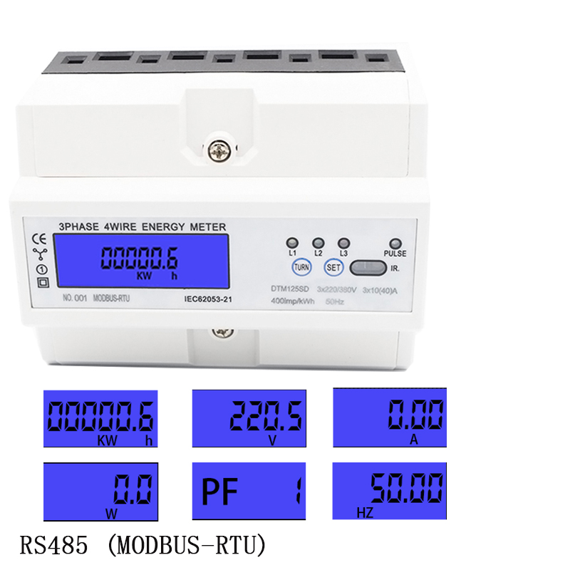 RS485 modbu three-phase LCD multi-function display power meter wattmeter power meter 3*220/380V 3*230/400V 50HZ 60HZ 5-100ARS485 modbu three-phase LCD multi-function display power meter wattmeter power meter 3*220/380V 3*230/400V 50HZ 60HZ 5-100A