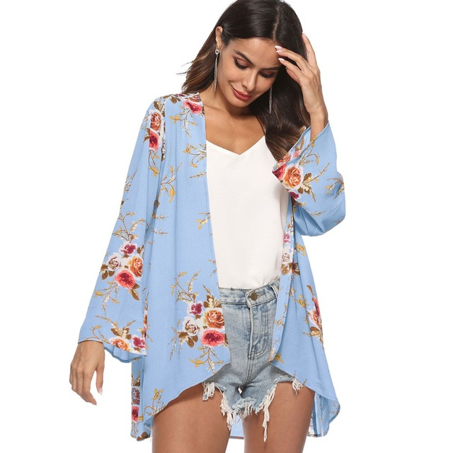 2018 Women's Open Front Cardigans Floral Print Long Sleeve Sweaters Outwear Tops Loose Floral Printed Bikini Cover Up