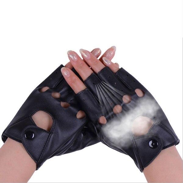 1 pair النساء أزياء بو الجلود الأسود نصف اصبع قفازات كول القلب الجوف أصابع قفازات قفازات الإناث لاستعادة لياقته # 40 2