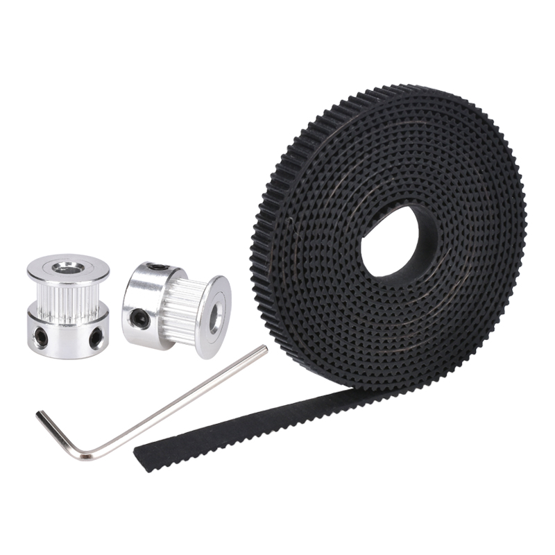 2pcs 2GT Gear Pulley for 3D Printer 2m 2GT 6mm Rubber Pulley Timing Belt