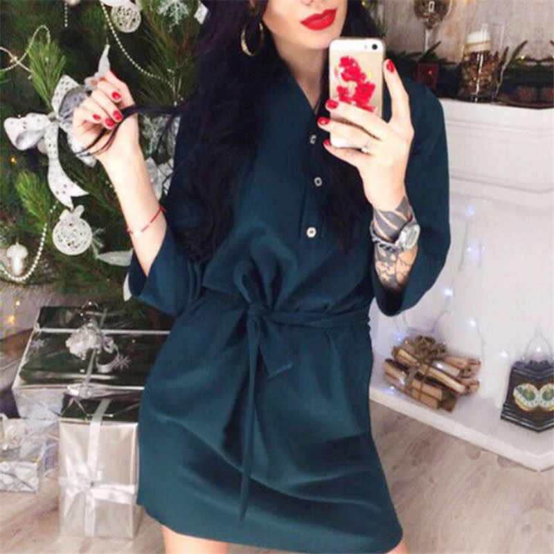 Womens Casual Short Mini Dresses With Sashes 2018 New Ladies Pure Color Slim Fit Summer Half Sleeve Party Dress Beach Dress Hot