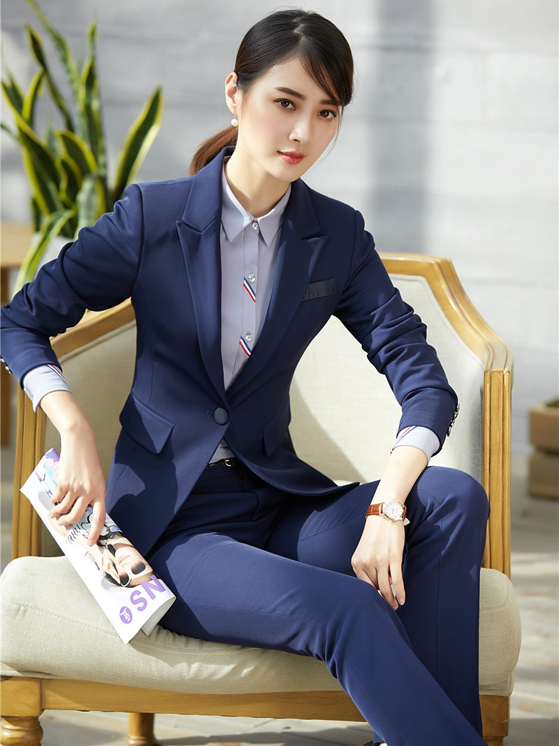 Back To Search Resultswomen's Clothing High Quality Ladies Blue Blazer Women Business Suits Formal Office Suits Work Wear Uniforms Pant And Jacket Set Pantsuits