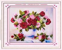 Needlework, Conjuntos para Bordado kit DIY Da Fita do ponto da Cruz, rosa vermelha vaso de flores bandas bordado presente de casamento decoração de parede