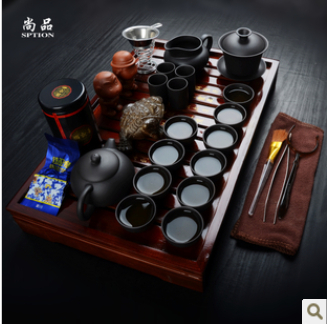 promotion Tea set yixing kung fu tea set solid wood tea tray teapot ceramic tea sets