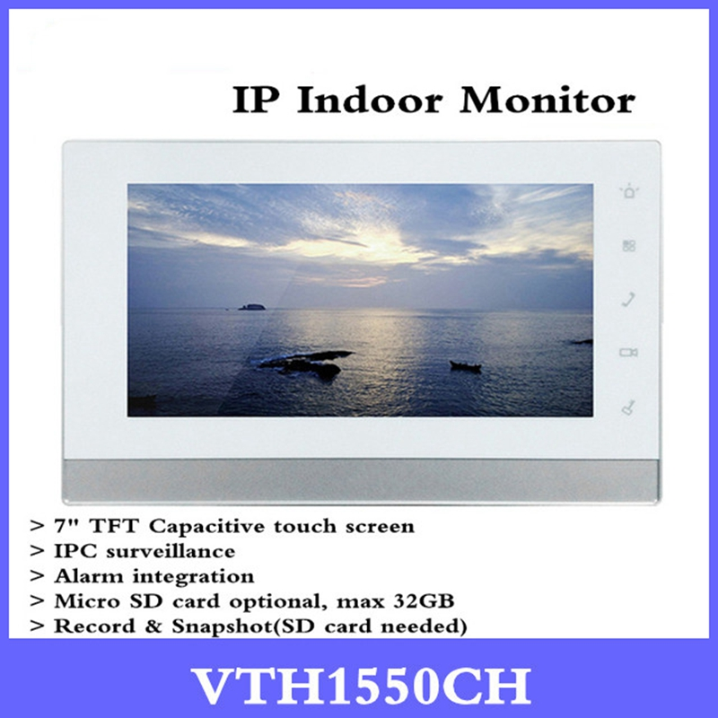 Original DH English OEM Version VTH1550CH Indoor Monitor 7-inch 800X480 Resilution Touch Screen Color IP Video Intercom english version brand 7 inch touch screen vth1550ch monitor with to2000a outdoor ip metal villa outdoor video intercom sysytem