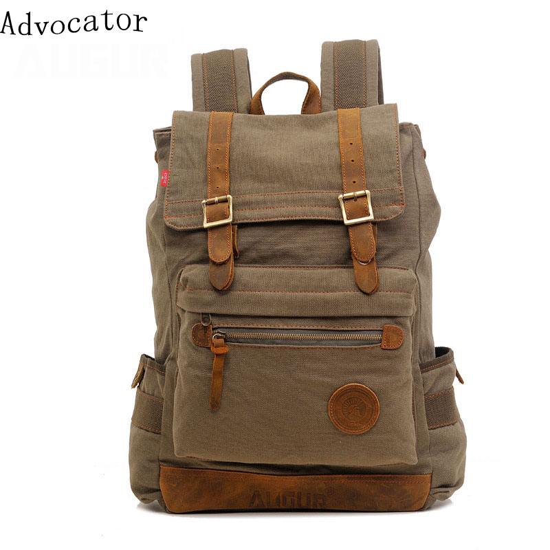 Augur Large Capacity Canvas Travel Women Backpack Retro Korean Stylish Men Backpacking Bag Portable School Bag for Teenagers aosbos fashion portable insulated canvas lunch bag thermal food picnic lunch bags for women kids men cooler lunch box bag tote