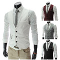 New 2016 Slim Male V-neck Small Vest Male Suit british Style White Summer The Trend OfTthe Vest