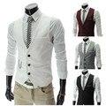 Novo 2016 fino masculino v-neck colete masculino estilo britânico verão tendência OfTthe colete