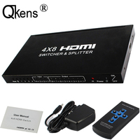 4x8 HDMI Switcher Splitter Audio Extractor 4 input 8 output Switch Audio Video Converter 3D 1080P Remote Control + Power Adapter