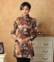 Многоцветный женщины длинный жакет атласа пальто китайская национальная тан-костюм топы цветок пальто ветровка sml XL XXL XXXL