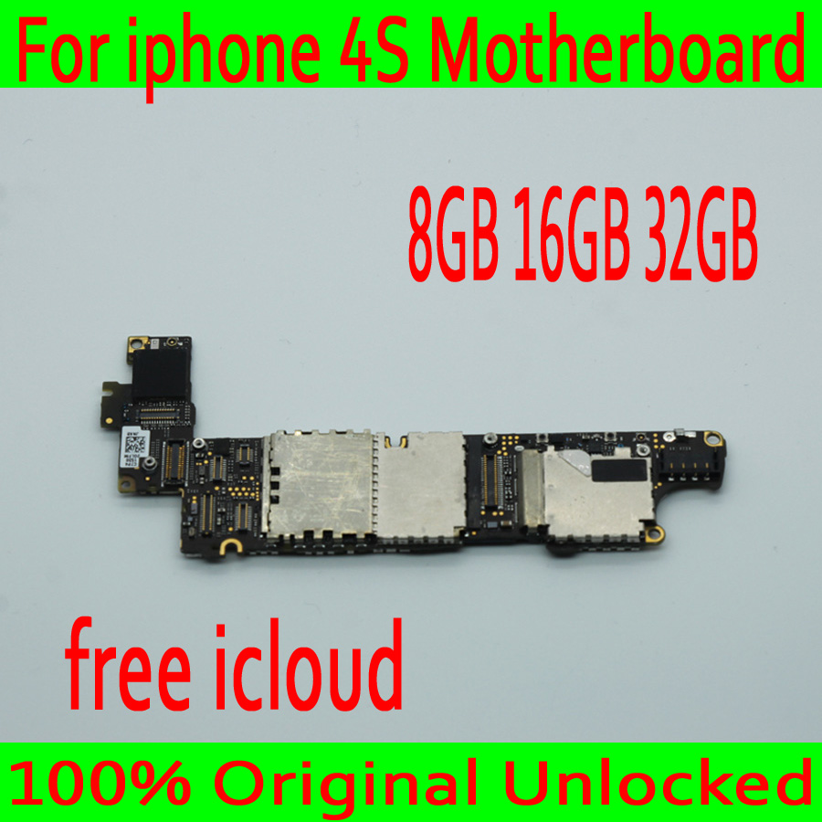 With Free iCloud for iphone 4S Motherboard with IOS System,Original unlocked for iphone 4S Mainboard,Good Tested,8GB /16GB /32GBWith Free iCloud for iphone 4S Motherboard with IOS System,Original unlocked for iphone 4S Mainboard,Good Tested,8GB /16GB /32GB
