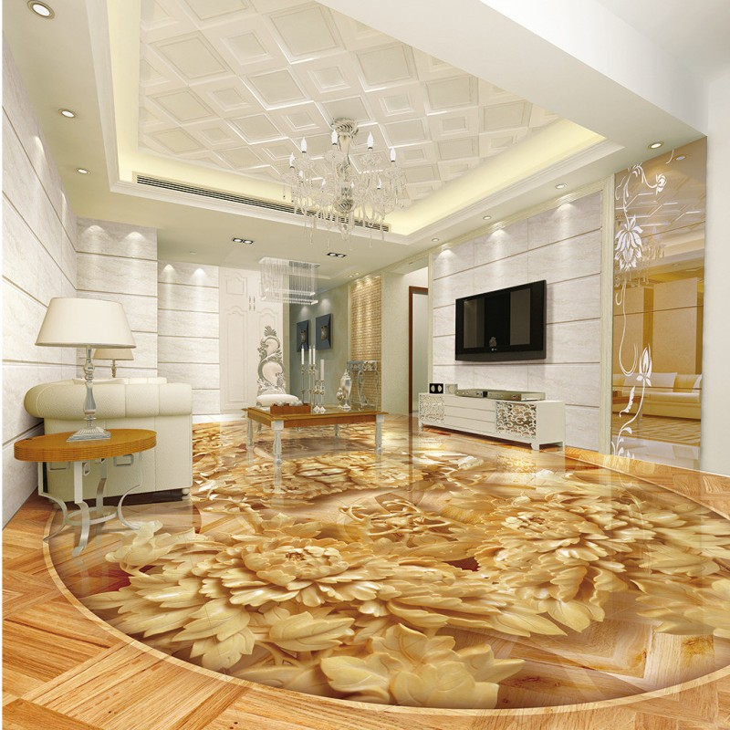 Free Shipping Chinese wood carving peony wood 3D floor painting wallpaper office studio kitchen flooring mural free shipping high quality hd underwater world 3d flooring painting wallpaper kitchen office wear floor mural