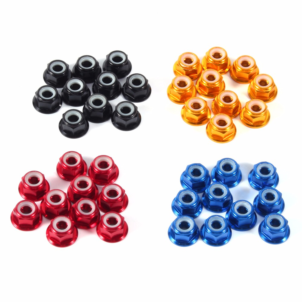 10Pcs/Pack M5 Self-Lock Nuts Nylon Insert Aluminum Flanged Lock Nut Purple/Silver Optional Wholesale