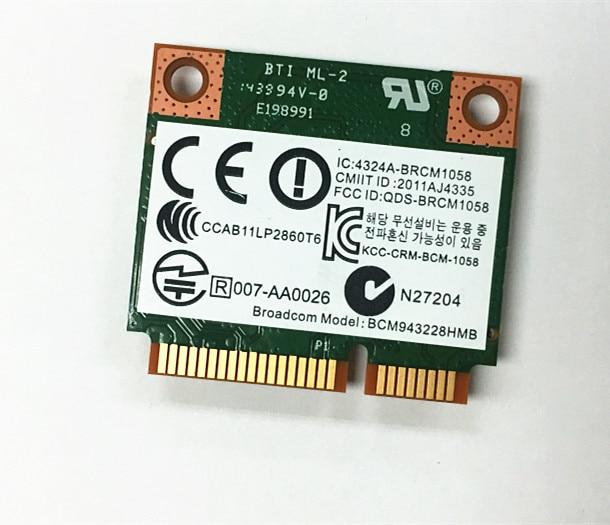 SSEA NEW Wireless Card Broadcom BCM943228HMB Wifi 4.0 Bluetooth Combo Half Mini PCI-E 802.11b/g/n 2.4G/5GHz For HP