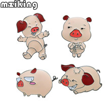 mziking 4pcs/set New Cute Pigs Brooches for Women Animal Pin Set Enamel Collar Badge Pin Homme Broaches Clothing Accessories(China)