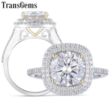 Transgems Center 3ct Double Halo Engagement Ring 14K Yellow and White Gold 9mm F Color Moissanite for Women