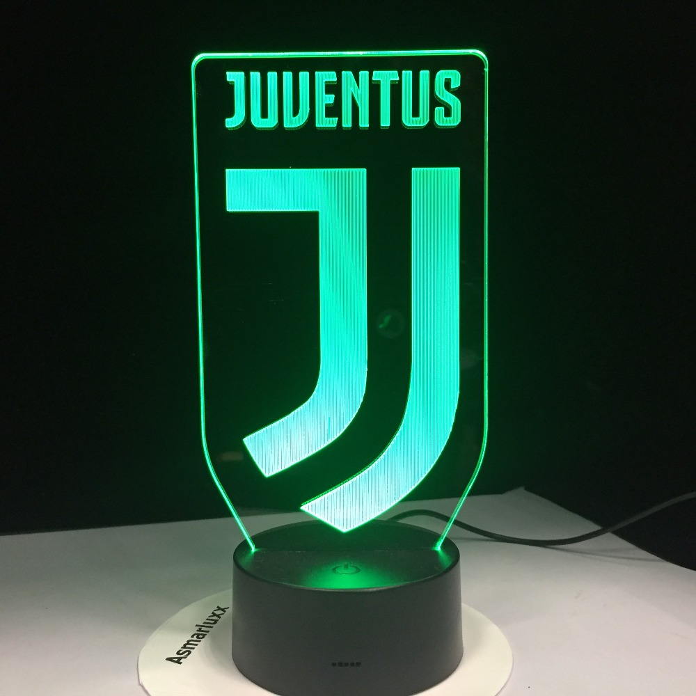 3D Soccer Lamp Football Juventus Club New Logo 7 Colorful LED Night Light Best Gifts for Kids Dad Friends Dropship Birthday Gift boys and girls teen titans go cartoon printed t shirt children great casual short sleeve tops kids cute t shirt
