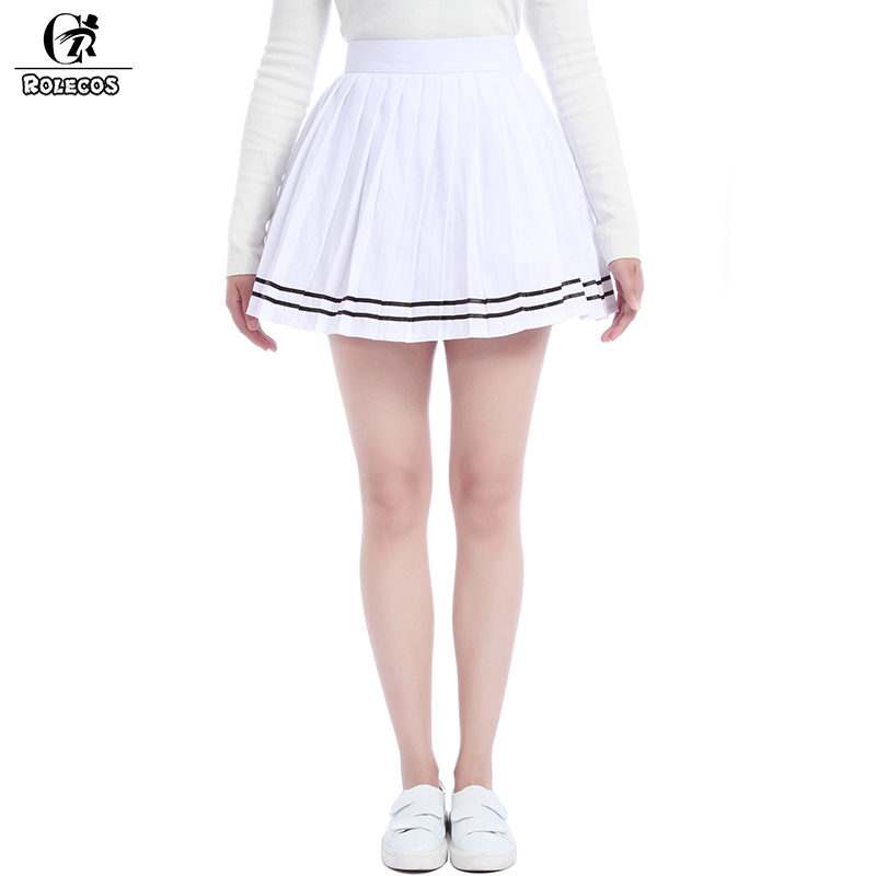 ROLECOS Brand New Women Summer Patchwork Svart Chiffon Pleated Skirt Skole Mønster Preppy Sweet Style Skirt Stor Størrelse S-4XL