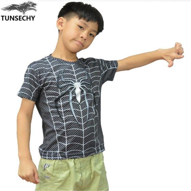 TUNSECHY fashion Spiderman Superman Boys Clothing Kids T-shirt Brand Short Sleeve Super Hero Batman Children Summer Tops Tees