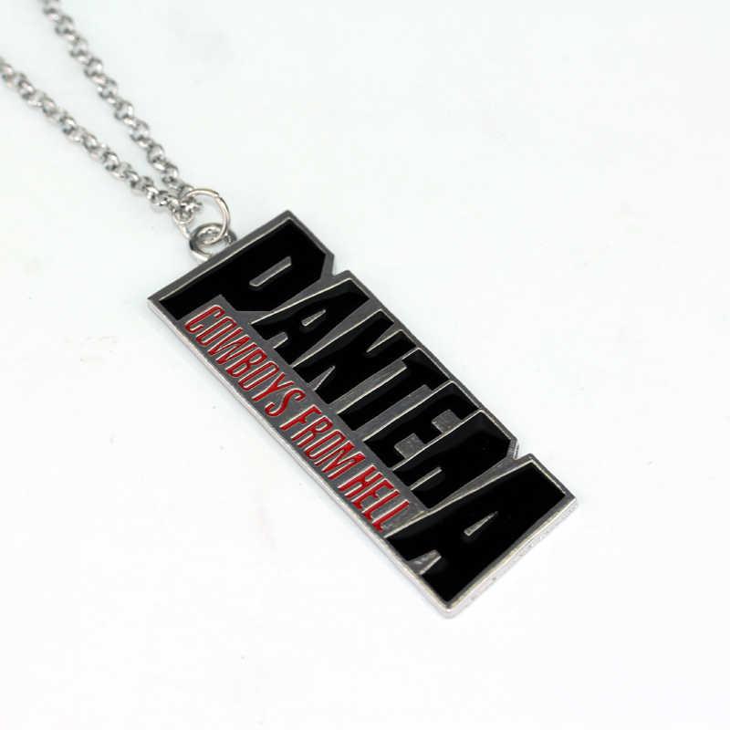HANCHANG PANTERA Logo Pantera kowbojów z piekła rodem metalowe Tag wisiorek naszyjnik Rock fanów marki biżuteria mężczyźni kobiety prezent