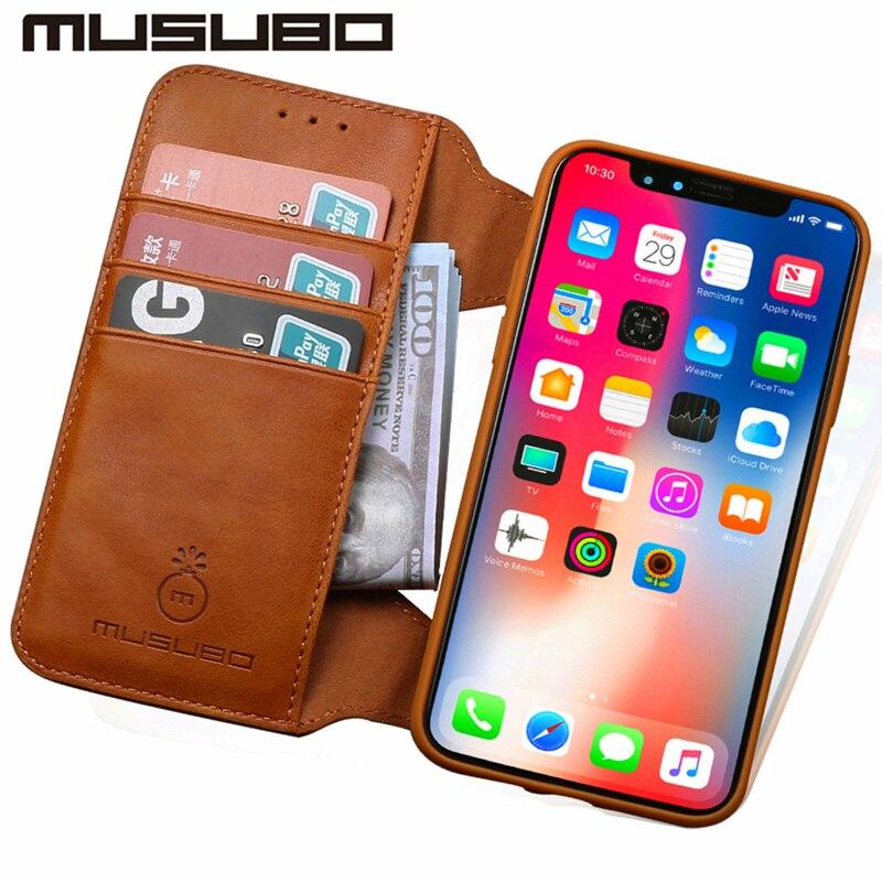 Musubo чехол для iphone X Роскошный кожаный флип чехол для iphone X 8 7 плюс 6 6s силиконовый чехол ТПУ бумажник карты Съемная Coque Капа