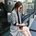 2016 Nova Forma Das Mulheres Das Senhoras OL Cinza Blazer Terno de Manga Longa Jaqueta de Lapela Primavera Outwear Blazers Longos Plus Size
