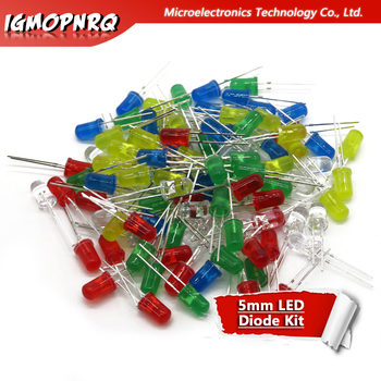 5Colors*20PCS 100PCS 5mm LED Diode Light Assorted Kit Green Blue White Yellow Red COMPONENT DIY