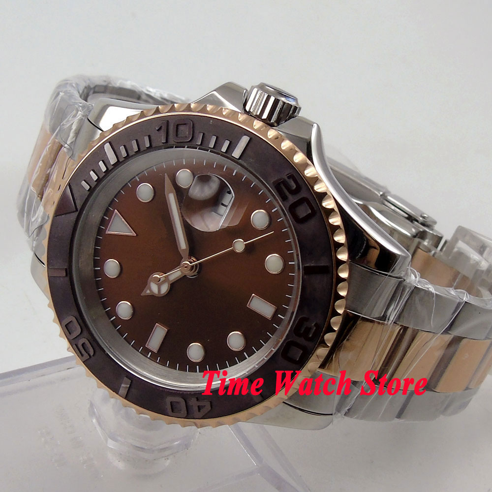 40mm coffee sterial dial saphire glass Brushed Ceramic Bezel gold case Automatic movement Men's watch BL60