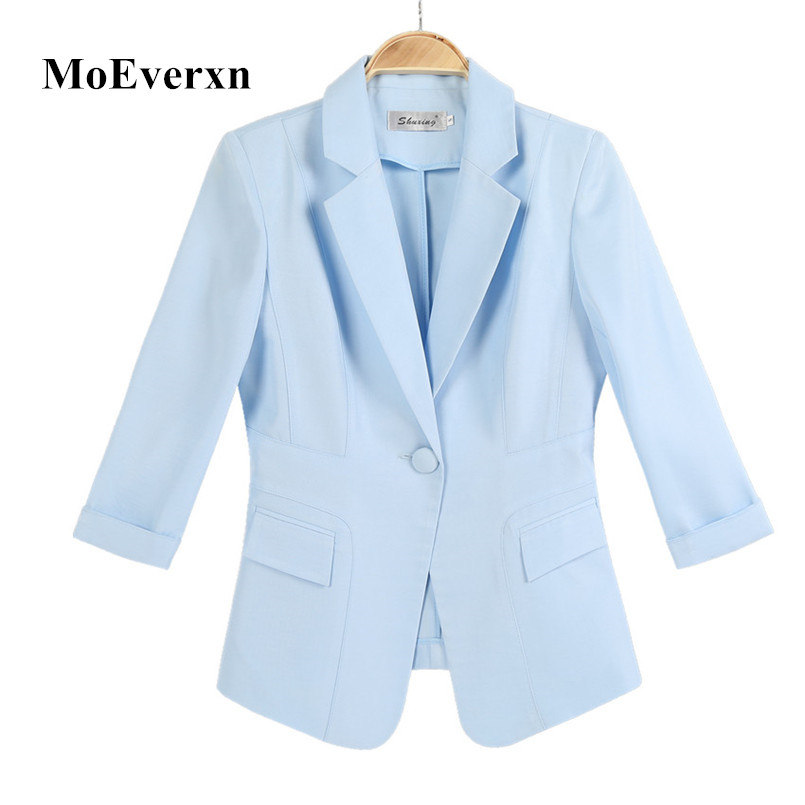 MoEverxn Garment store Womens Casual Work Office Blazer Jacket 3/4 Sleeve Notched Collar Single Button Pockets Design Spring Fall Slim Lady Outwear