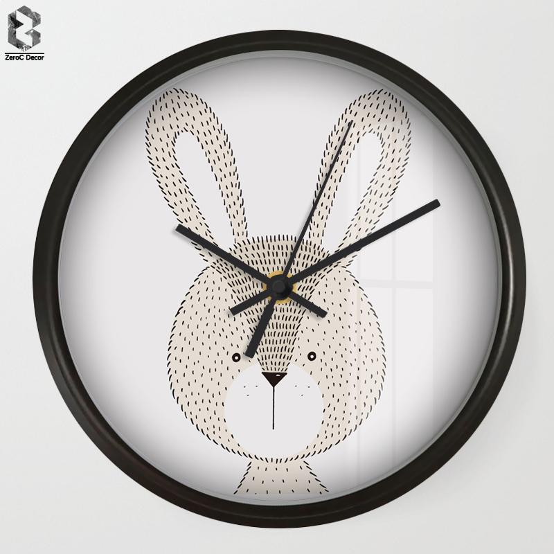 Chic Art Wall Clock Cartoon Rabbit For Kids Room Wall Decor Nursery