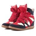2017 Nuevo de las mujeres zapatos Casuales zapatos de Cuero para las mujeres de Isabel Tamaño (35 ~ 42) Aumento de la Altura de Invierno Primavera zapatos