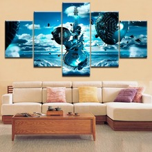 Top-Rated HD Printing 5 Pieces Blue Fantasy Artistic Guitar Poster Music Painting Framework For Modern Decorative Living Room