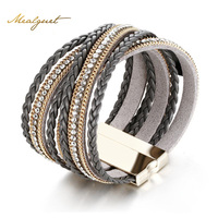 Meaeguet Delicate Multilayer Bracelets Bangles Alloy PU Rhinestones Wide Magnetic Closer Bracelet Gift Jewelry Accessories
