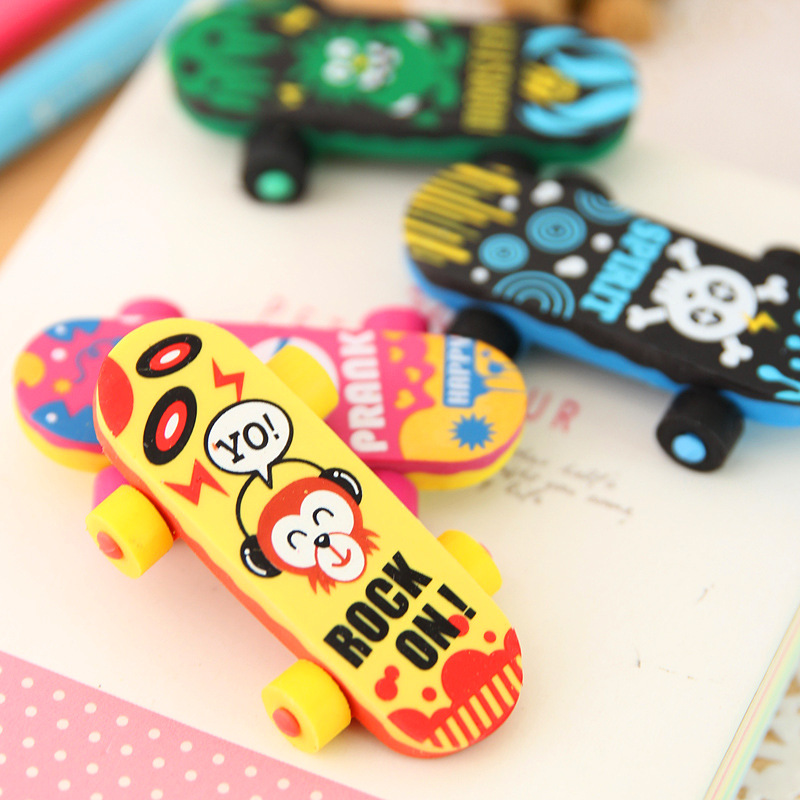 1 PCs Creative Cartoon Skateboard Car Cute Eraser Student Eraser School Supplies Wholesale