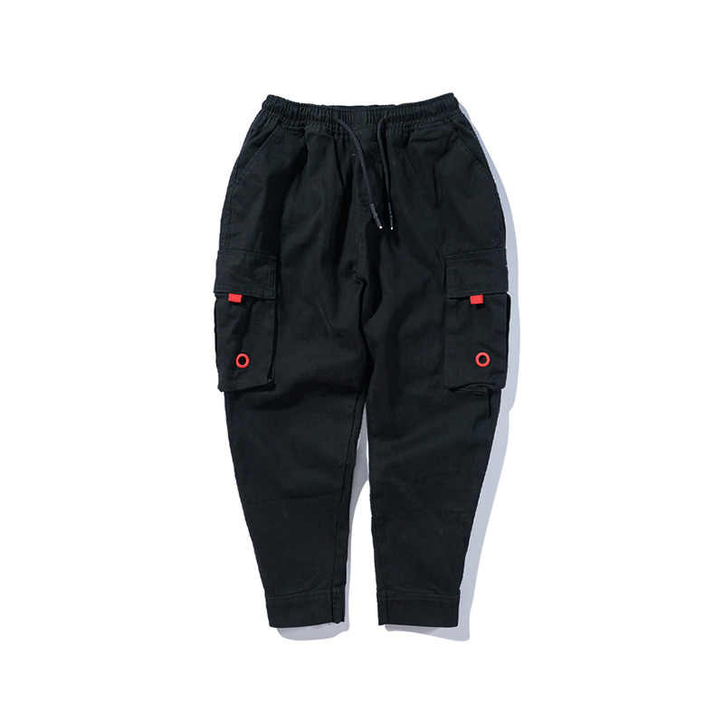 Американский уличный стиль Модные для мужчин's Jogger джинсы для женщин черный зеленый лодыжки окаймлены большой карман штаны-карго мужчин