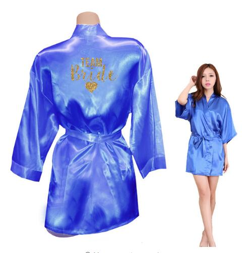 discount collection discount for sale later TEAM BRIDE Robes Team Bride Heart Golden Glitter Print Kimono Robes Satin  Bridal Party Robe Bride Team Wedding Gift