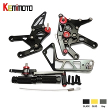 KEMiMOTO Motorcycle CNC Parts YZF R1 2015 2016  Rear Sets For Yamaha YZF-R1 2015 2016 R1 CNC Adjustable Rearsets Foot Rests Pegs