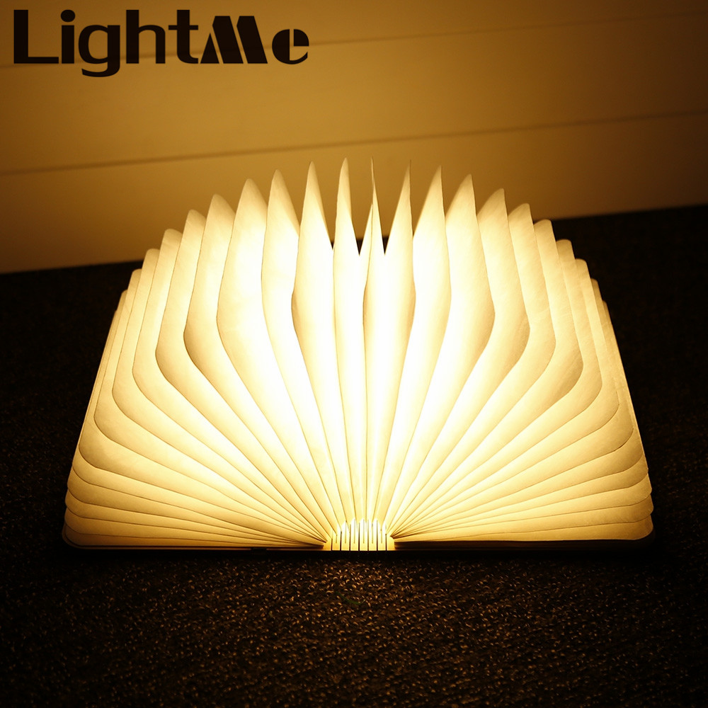 Three USB Rechargeable LED Foldable Wooden Book Shape Desk Lamp Book Night Light For Home Decor Warm White Light Drop Shipping yingtouman led night light folding book light usb port rechargeable paper cover home table desk ceiling decor lamp