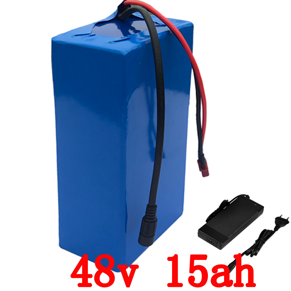 Free customs taxes High quality  48 volt li-ion battery pack with 2A charger and 30A BMS for 48v 15ah 1000w lithium battery pack ebike battery 48v 15ah lithium ion battery pack 48v for samsung 30b cells built in 15a bms with 2a charger free shipping duty