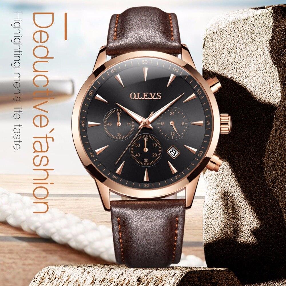 OLEVS De Luxe Montres À Quartz Pour Hommes Véritable Bracelet En Cuir Calendrier Mâle Horloge Chronographe Montre Étanche Affaires Bracelets