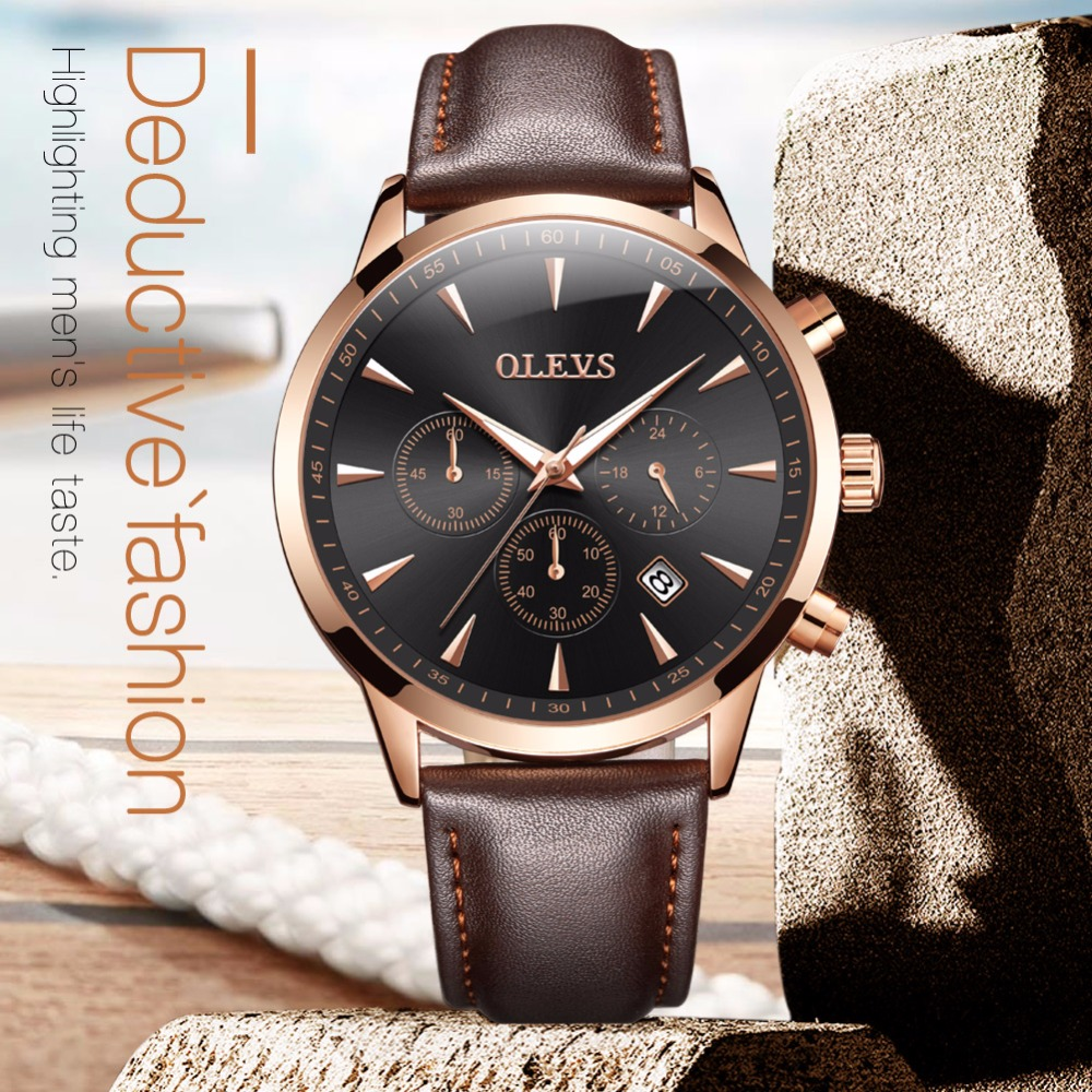 OLEVS Luxury Quartz Watches For Men Genuine Leather Strap Calendar Male Clock Chronograph Watch Waterproof Business Wristwatches