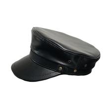 BUTTERMERE las mujeres sombrero Otoño Invierno señoras de cuero de tapa  plana de moda femenina ejército negro Tapa superior Capi. f21592beadd