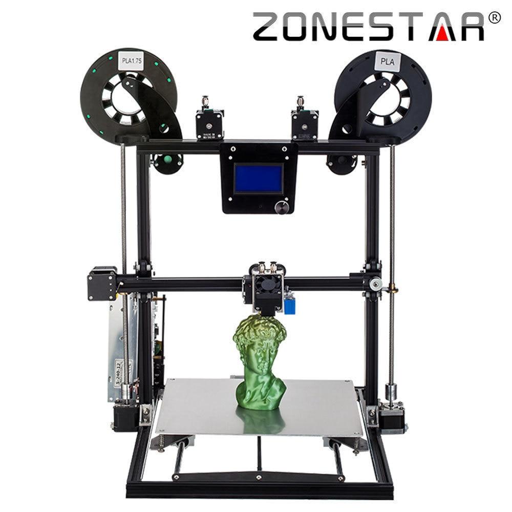 ZONESTAR 2018 Date de Mise À Niveau grande taille Un/Deux/Trois Extrudeuse 3D Imprimante Lit Auto Niveau Complet En Métal En Aluminium Cadre kit de bricolage