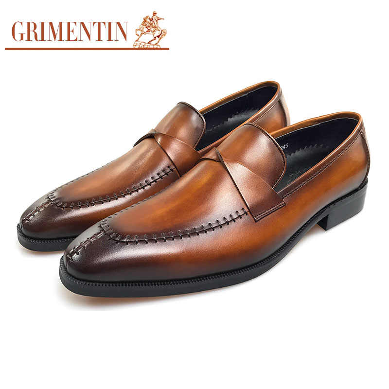 7a5bc2326b9 GRIMENTIN genuine leather men dress shoes luxury formal shoes wedding slip  on